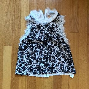 Black and White Lace Tank Top